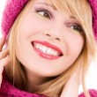 Happy teenage girl in hat — Stock Photo