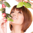 Happy woman with apple twig — Stock Photo #11759206