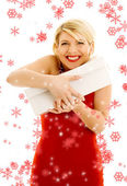 Thankful girl with snowflakes — Stock Photo