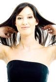 Brune aux cheveux longs — Photo