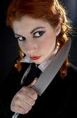 Crazy uczennica z nożem — Zdjęcie stockowe