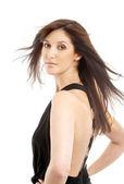 Krásná brunetka v pohybu — Stock fotografie