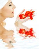 Pétalos rojos en agua — Foto de Stock