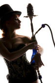 Woman with hookah — Stock Photo