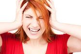 Mulher ruiva infeliz — Foto Stock