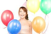 派对女孩与气球 — 图库照片
