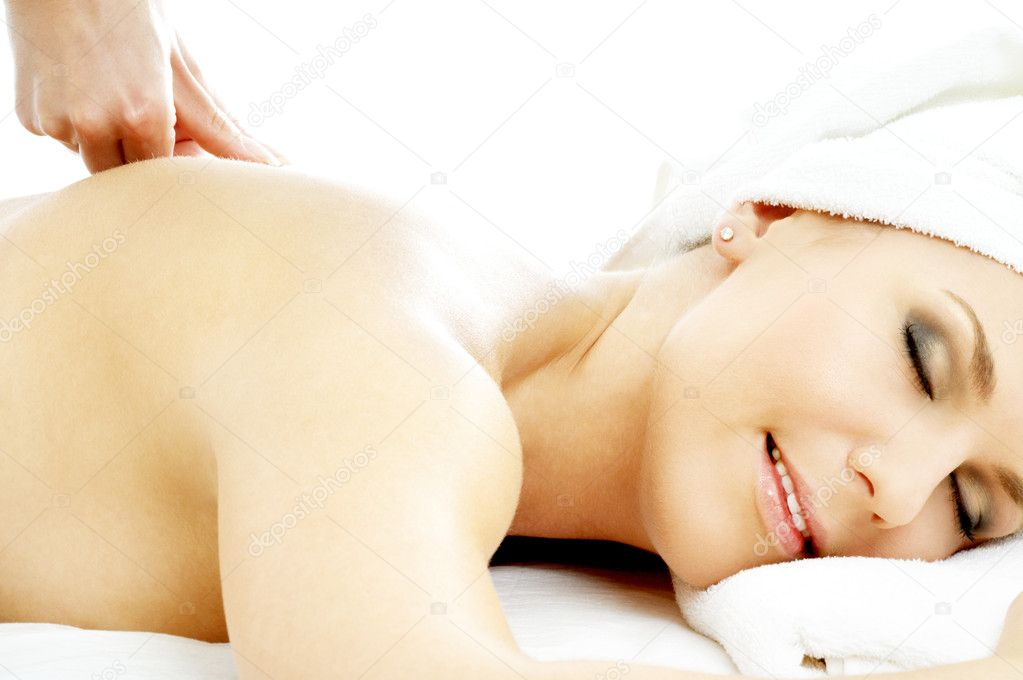 Picture of lovely lady relaxing in massage salon — Stock Photo #11757081