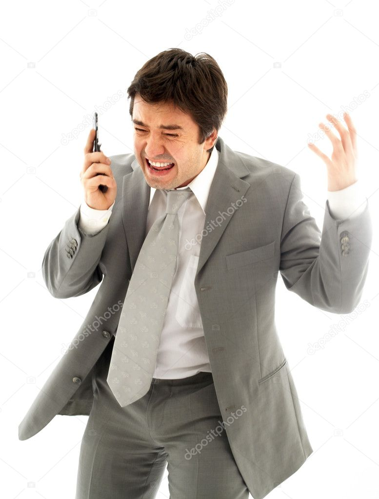 Angry business man with cellular phone over white  Stock Photo #11757183