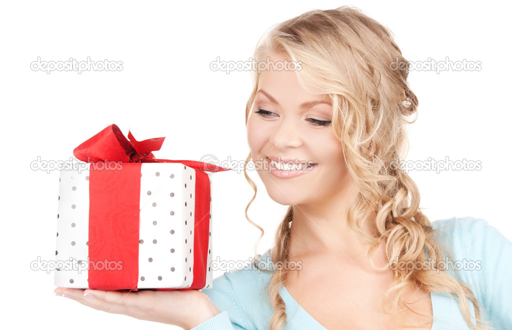 Happy girl with gift box over white — Stock Photo #11757879