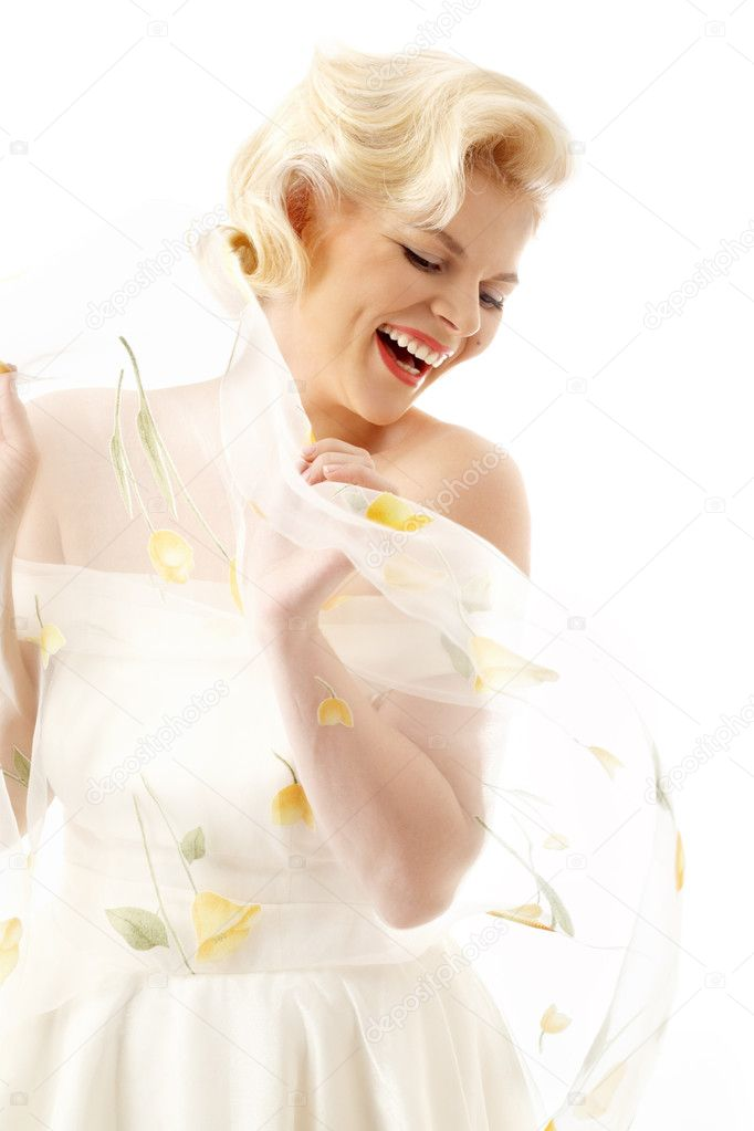 Joyful blond in retro style over white — Stock Photo #11758009