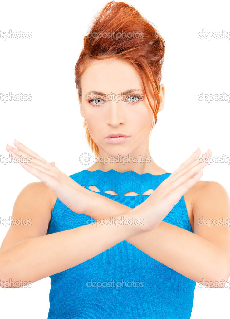 Bright picture of young woman making stop gesture — Stock Photo #11759538