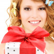 Butterfly girl with gift — Stock Photo #11760161
