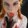 Schoolgirl with blood all over - Stok fotoğraf