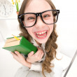 Funny girl with green book — Stock Photo