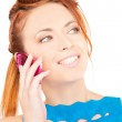 Happy woman with pink phone — Stock Photo #11762057