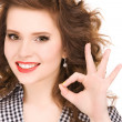 Bright picture of lovely woman showing ok sign — Stock Photo #11762895