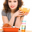 Young attractive woman in the kitchen - Foto de Stock