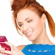 Happy woman with cell phone — Stock Photo #11763388