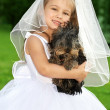 Little bridesmaid with cute dog — Stock Photo