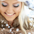 Winter girl with snowflakes — Stock Photo #11764514