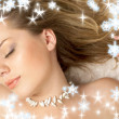 Christmas dream of seashell girl - Stock Photo