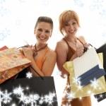 购物女孩与雪花 — 图库照片