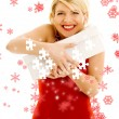 Stock Photo: Puzzle of thankful girl with snowflakes