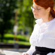 Businesswoman with laptop in the park — Stock Photo #11766999