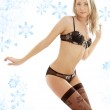 Dancing blonde in brown lingerie — Stock Photo #11767491