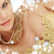 Stock Photo: Mysterious blue-eyed blond in pearls