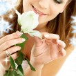 Stock Photo: White rose womin water
