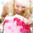 bella ragazza di santa helper con regali di Natale — Foto Stock