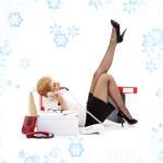 Laying chatting businesswoman — Stock Photo #11768144