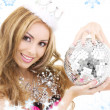 Lovely fairy in crown with disco ball — Stockfoto