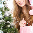 Santa helper girl with gift box and christmas tree — Stock Photo #11768218