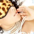 Pearls and leopard mask - Stock fotografie