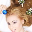 Lovely woman with christmas ball — Stock Photo