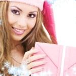 Happy santa helper with gift box — Stock Photo #11769190