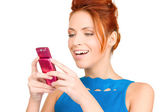 Happy woman with cell phone — Foto Stock