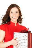 Mujer feliz con caja de regalo — Foto de Stock