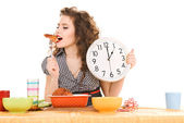 Young attractive woman in the kitchen — Stock Photo