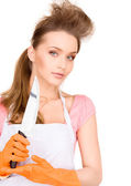 Housewife with big knife — Stock Photo