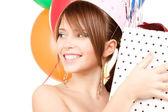 派对女孩与气球和礼品盒 — 图库照片