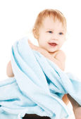 Bebek mavi havlu ile — Stok fotoğraf