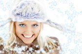 Winter girl with snowflakes — Stock Photo