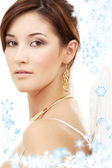 Christmas portrait of brunette angel girl — Stockfoto