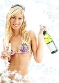 Wine girl with snowflakes — Stock Photo