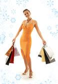 Shopping euphoria with snowflakes — Stock Photo