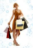шоппинг рыжий со снежинками — Стоковое фото
