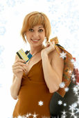 Consumer girl with snowflakes — Stock Photo